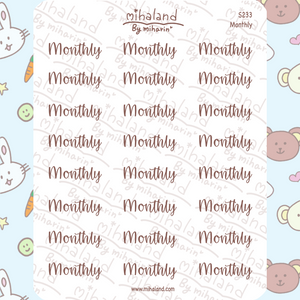 Monthly Script Planner Stickers (S233)