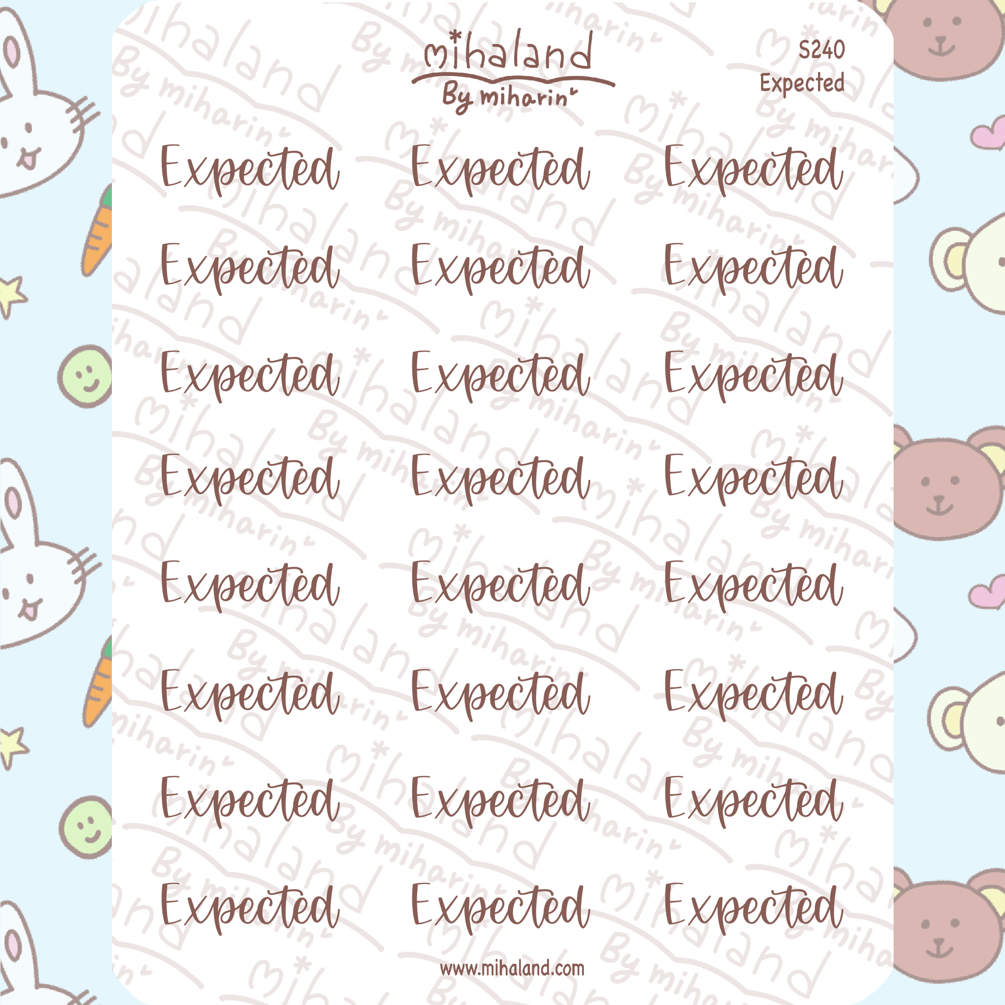 Expected Script Planner Stickers (S240)