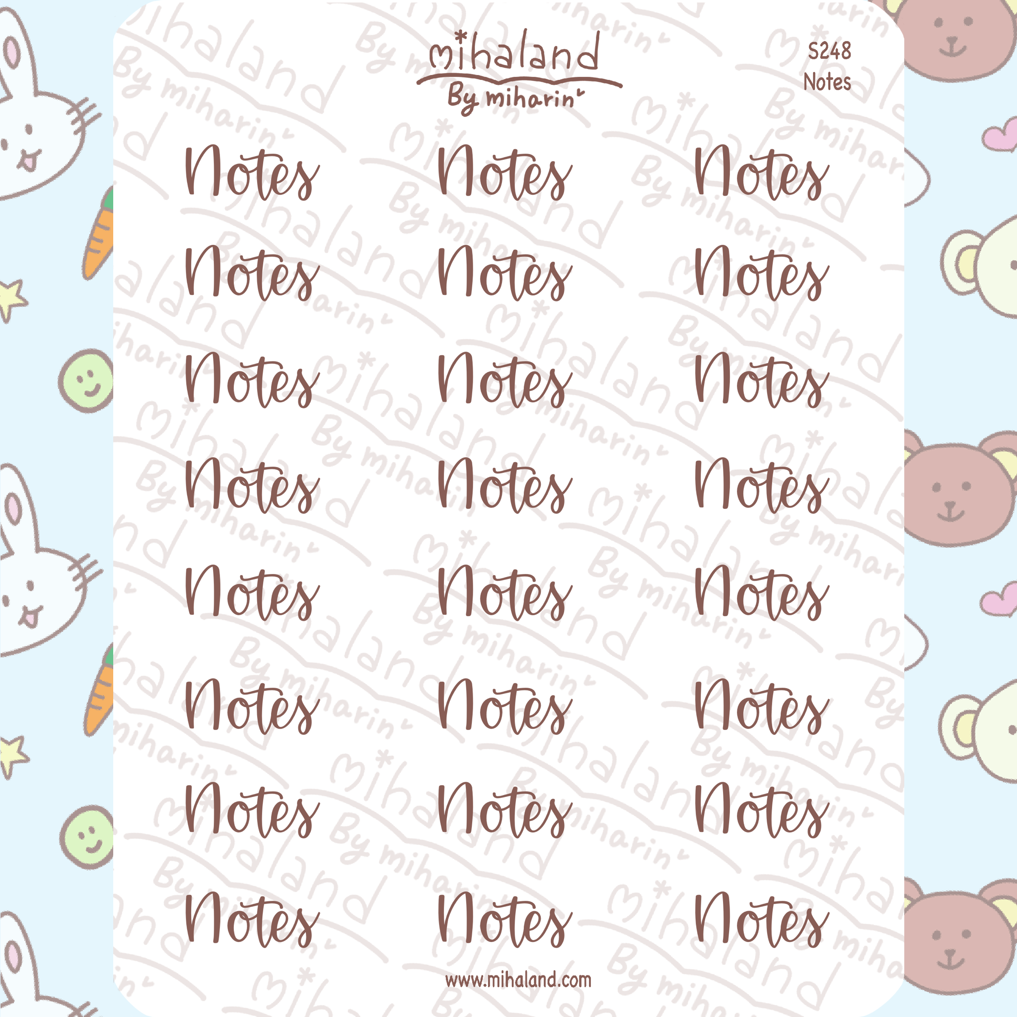 Notes Script Planner Stickers (S248)