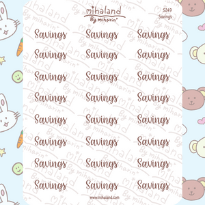 Savings Script Planner Stickers (S249)