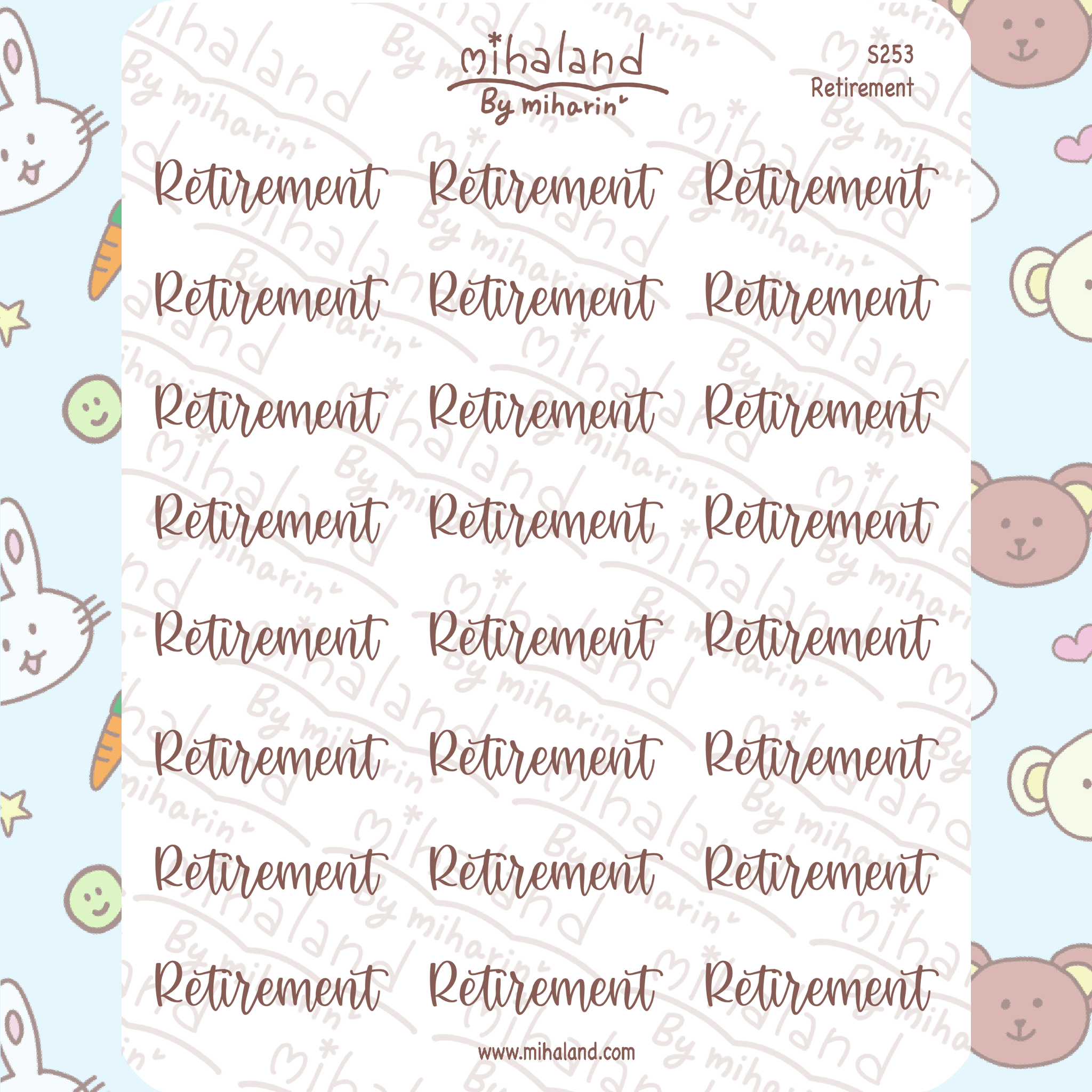 Retirement Script Planner Stickers (S253)