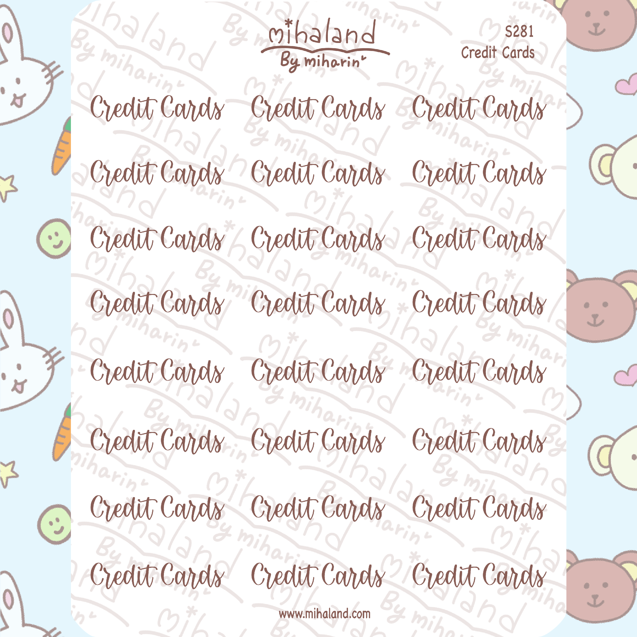Credit Cards Script Planner Stickers (S281)