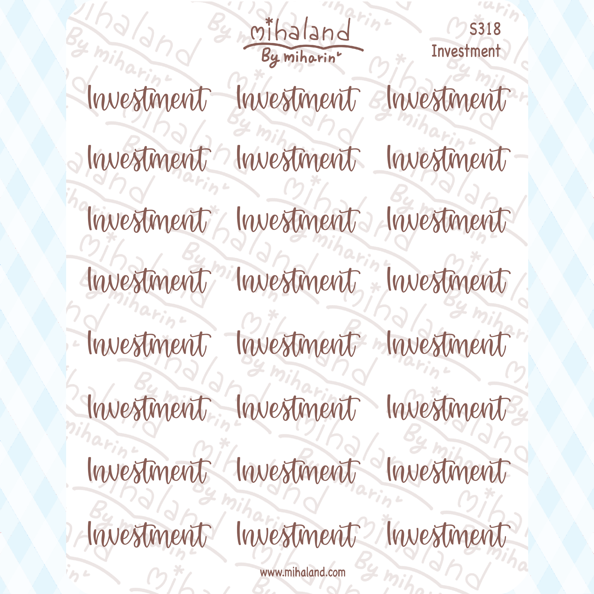 Investment Script Planner Stickers (S318)