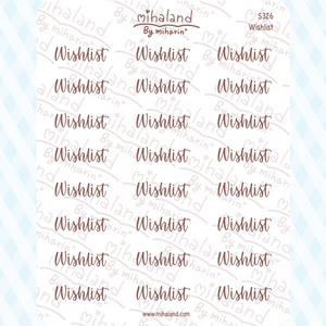Wish list Script Planner Stickers (S326)