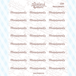 Measurements Script Planner Stickers (S359)