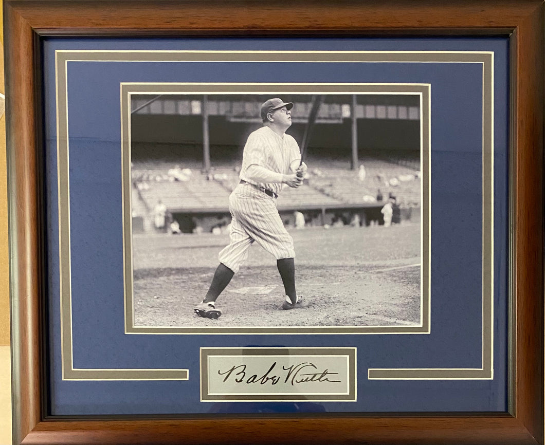 Babe Ruth Autographed Reprint Custom Yankees Display
