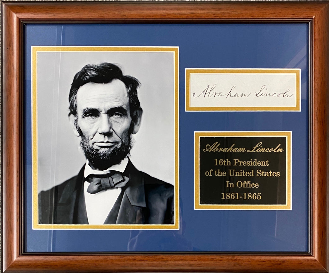 Abraham Lincoln Autographed Replica Display