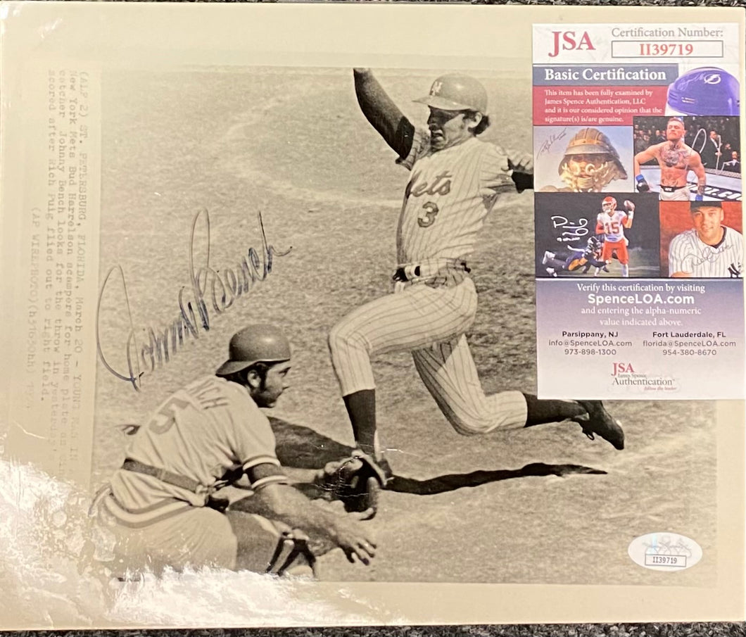 Johnny Bench Autographed Black & White Photo - JSA Cert