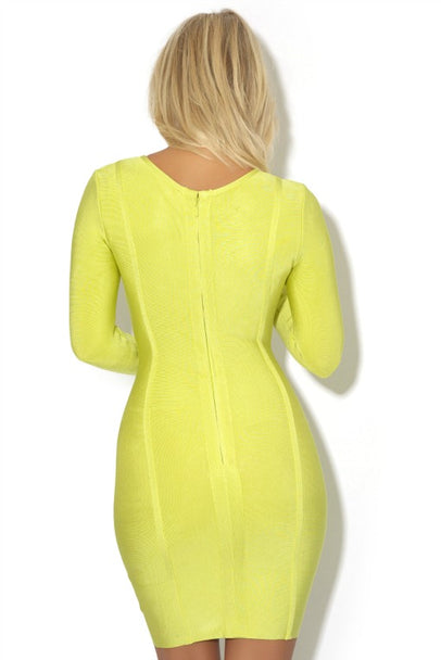 LIME GREEN LONG SLEEVE BANDAGE DRESS