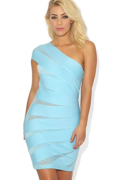 'TORI' ONE SHOULDER MESH BANDAGE DRESS