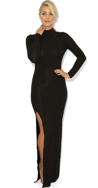 Celebrity Style Open Back Side Split Black Maxi Dress