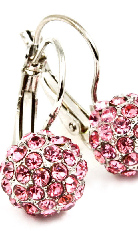 Crystal Fireball Fish Hook  Earring - Pink