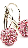 Load image into Gallery viewer, Crystal Fireball Fish Hook  Earring - Pink