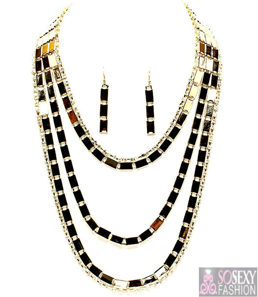 """Elle""  Crystal Necklace and Earring Set"