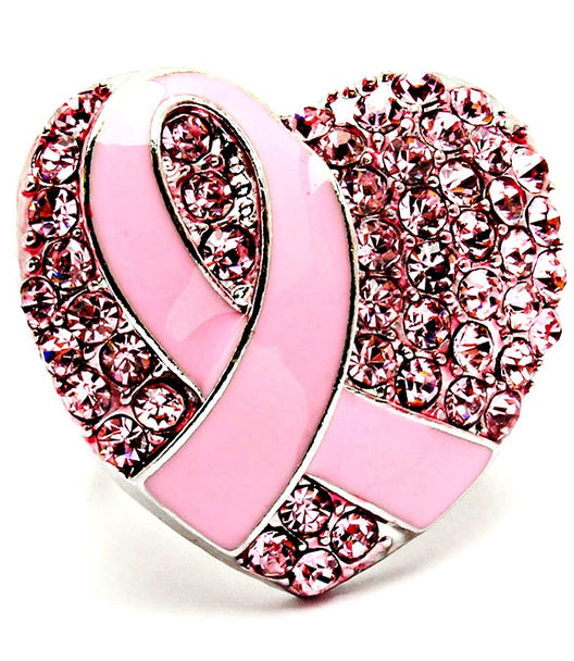 Breast Cancer Heart Ribbon  Ring