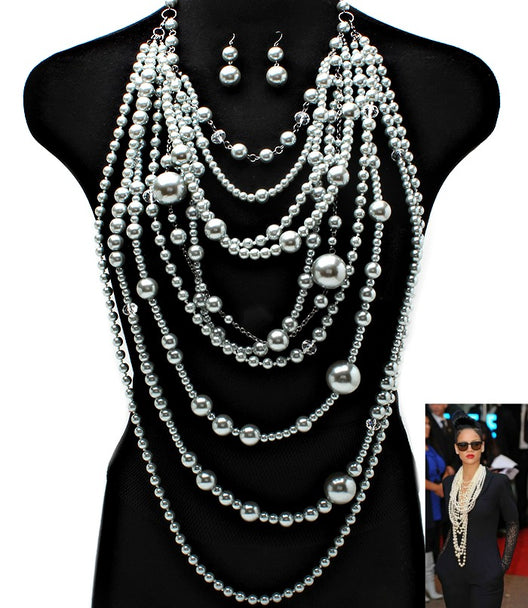 """Rihanna""  Pearl Necklace and Earring Set"