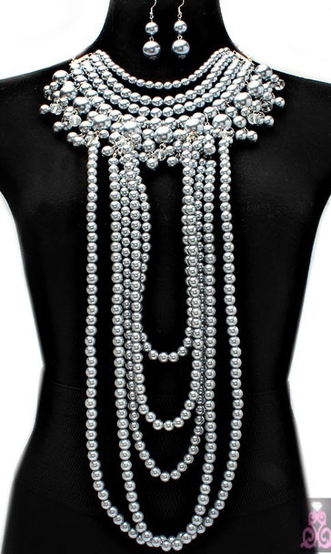 'Rihanna' Crystal  Pearl Necklace and Earring Set
