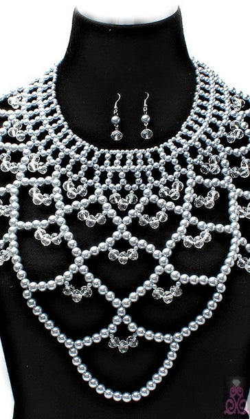 """Zara"" Crystal Bead Pearl Necklace and Earring Set"