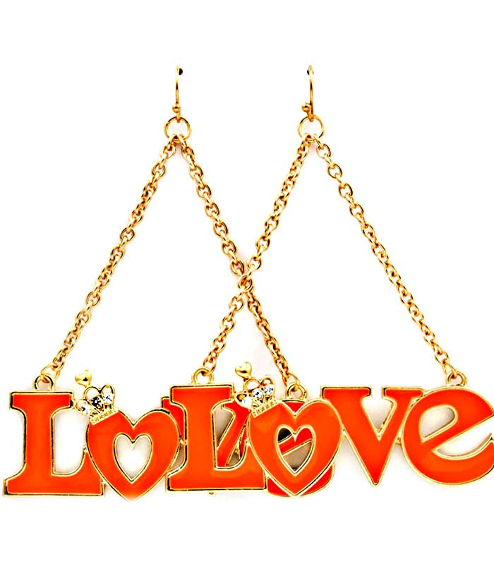 Crystal LOVE Fish hook Dangle Earrings - ORANGE