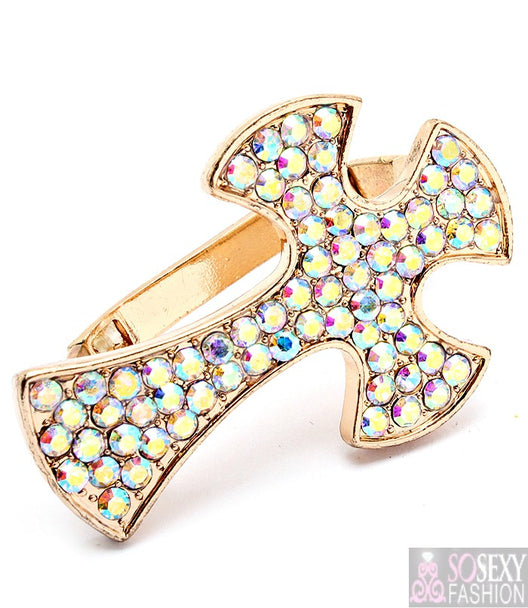 """Cross"" Adjustable Stretch Two Finger Ring"