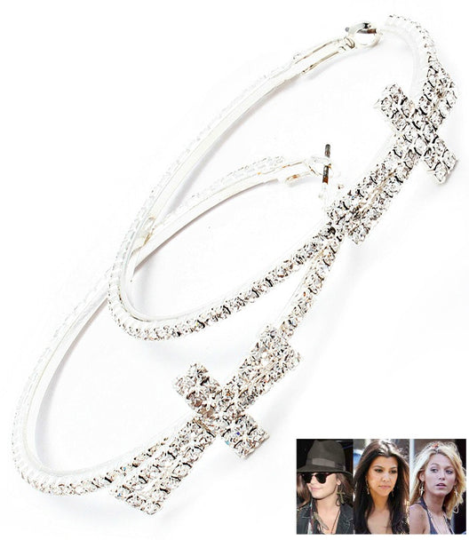 Crystal Studded Cross Hoop Earrings