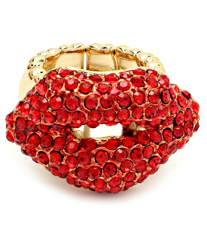 'Kisses' Stretch Crystal Studs Statement Ring