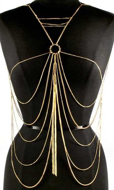 'LUISA'  CRYSTAL STUDS LAYERED  BODYCHAIN