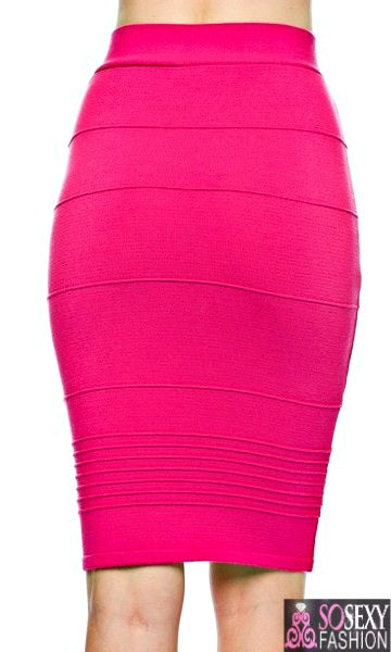 'HEIDI' BODYCON BANDAGE PENCIL SKIRT  - NAVY
