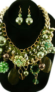 Load image into Gallery viewer, 'Zara' Beaded Pearl Necklace and Earring Set