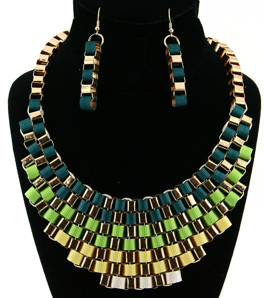 'Cleopatra'  Necklace and Earring Set - Black