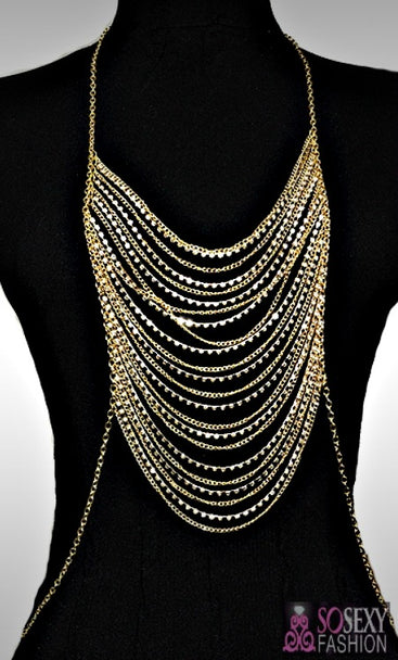 """Rihanna"" Crystal Layered Body Chain"