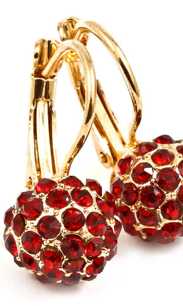 Crystal Fireball Fish Hook  Earring - Red