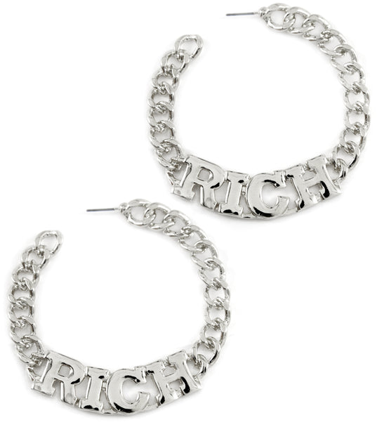 """RICH"" Curb Chain HOOP EARRINGS"