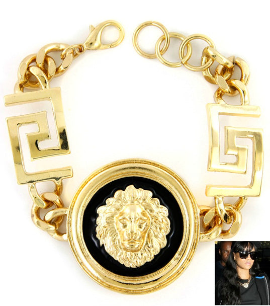 Celebrity Inspired Rihanna  Lion Head Bracelet