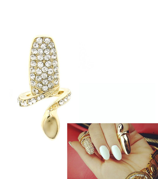 Adjustable Crystal Finger Tip Nail Ring
