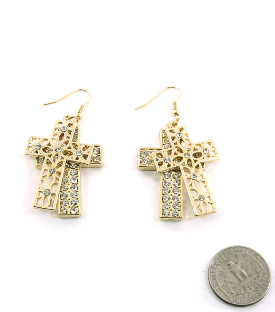 """Kourtney""  Crystal Fish Hook Cross Earring"