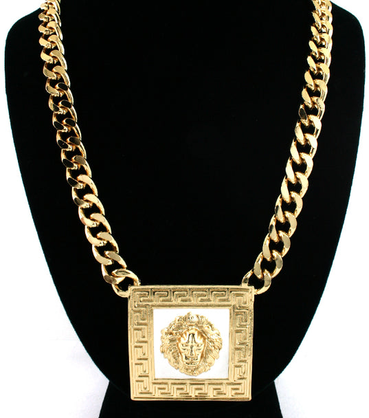 Designer Inspired  Square LionHead Necklace - Black