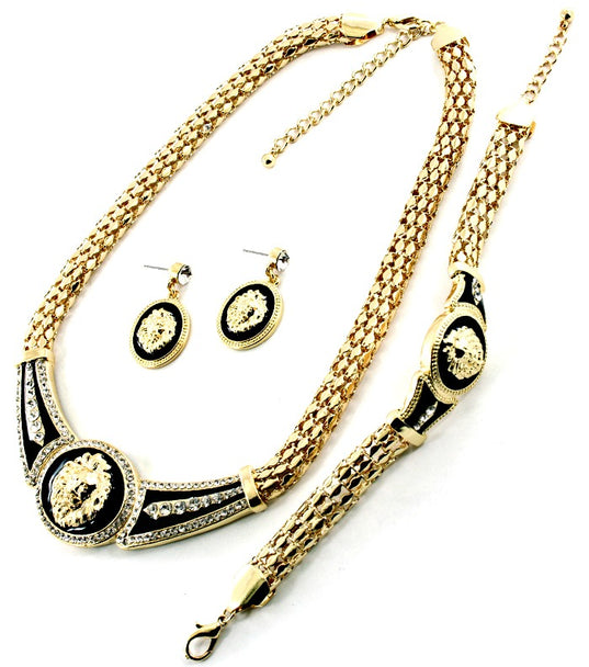 DESIGNER INSPIRED 3PC LION HEAD NECKLACEAND EARRING SET