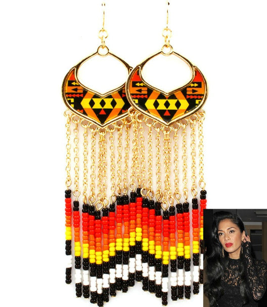 'Nicole'  Hawaii Tassel Bead Fish Hook Earring