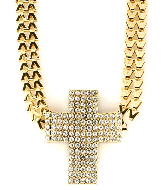 """QUEEN"" CRYSTAL CROSS NECKLACE"