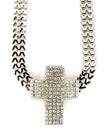 "Load image into Gallery viewer, ""QUEEN"" CRYSTAL CROSS NECKLACE"