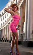 "Load image into Gallery viewer, ""LYLA"" STRAPLESS SWEETHEART BANDAGE DRESS"