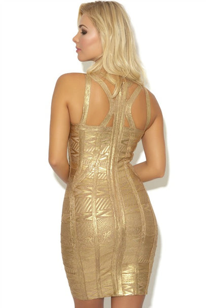 'CHANTAL' GOLD BANDAGE DRESS