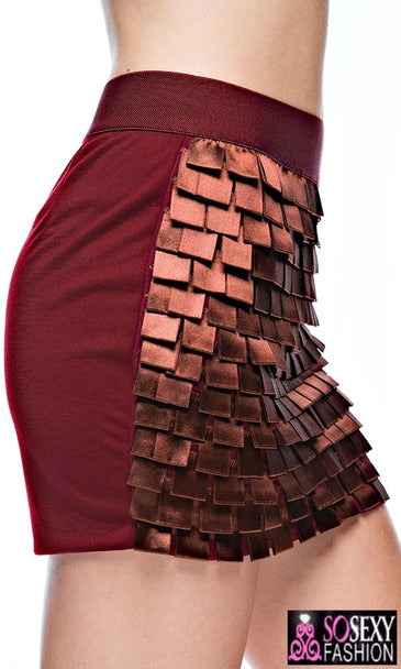 """Kylie Minogue""  Tiered Square Cut Mini Skirt"