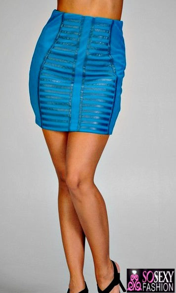 'ZINA'  BODYCON BANDAGE SKIRT  - ROYAL BLUE
