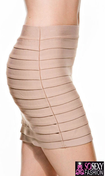 Tiered Luxe Bandage Nude Mini Skirt