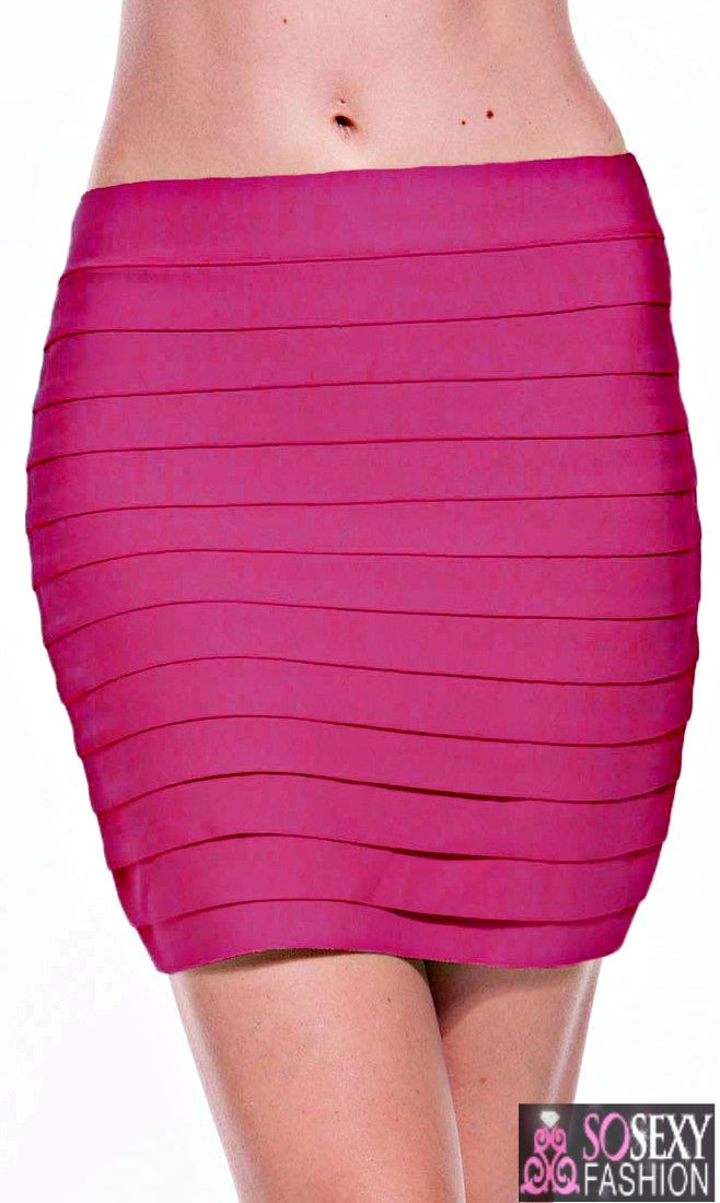 Tiered Luxe Bandage Mini Skirt