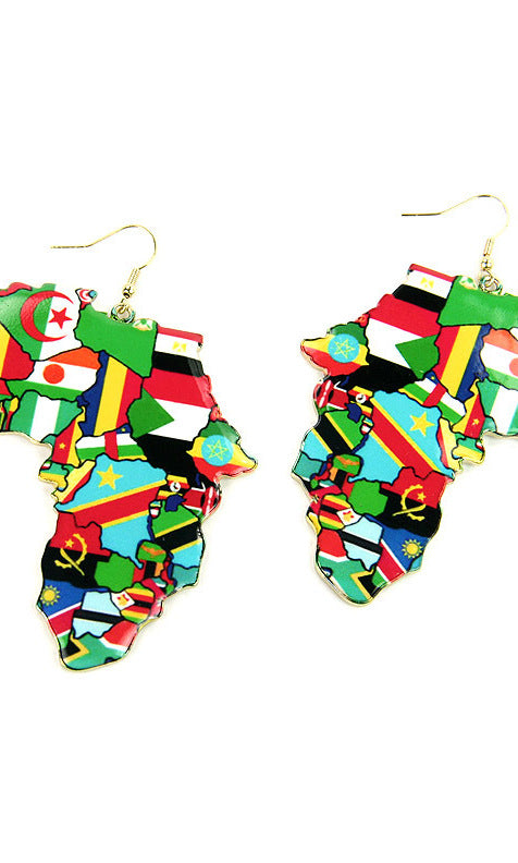 BLACK AFRICAN FLAGS FISH HOOK EARRINGS