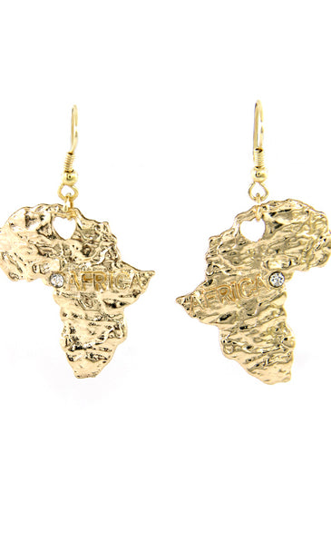 AFRICA MAP GOLD CRYSTAL EARRINGS - Jewellery