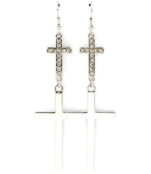 """ADINA""  CRYSTAL CROSS EARRINGS"